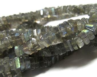 Labradorite Beads 4 x 4 X 2mm  Blue Flash Smooth Labradorite Squares - 4 inch Strand
