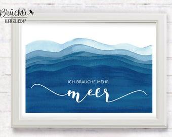 "A4 Kunstdruck / Wandbild / Poster / Print / Dekoration ""Mehr Meer"""