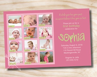 FIRST BIRTHDAY Photo Montage Birthday Party Event Printable Invitation/One Year Old/Boy/Girl - You Print