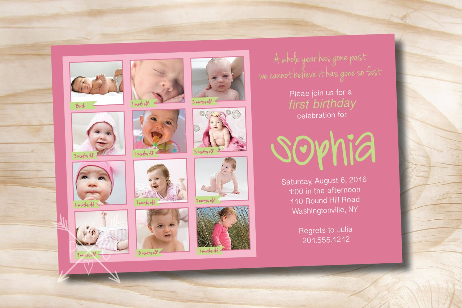 First birthday photo montage birthday party event printable zoom kristyandbryce Images