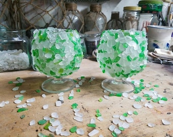 Beach Glass Candle Holders- Set of 2