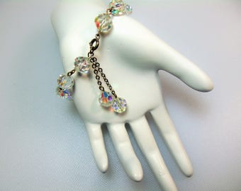 Vintage Clear Aurora Borealis Glass Bead Bracelet with Double Dangles