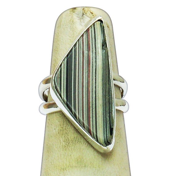 Fordite and Sterling Silver Statement Ring, Size 5  r5frdg2911