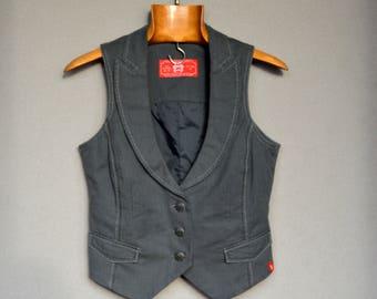 Gray Womens Vest Gray Striped Vest Fitted Formal Waistcoat Secretary Elegant Vest Country Waistcoat Boho Esprit Vest Small Size