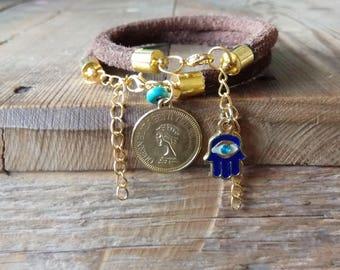 Multi strand cuff, boho bracelets set, Gold coin bracelet, Brown leather bracelets set, Evil eye bracelet, rustic bracelets, boho jewelry