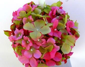 Wedding pomanders, Hot pink Lime green Wedding flower ball bouquet, Kissing ball, Wedding ceremony decorations