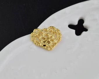 3 of 14k gf filigree lace heart charm pendant 15*12mm XD4
