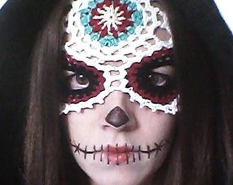 Sugar Skull Mask Crochet Pattern PDF Download Day of the Dead Halloween Día de Muertos Costume Dress Up Fantasy Photo Prop Party