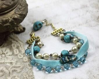 Vintage Assemblage Beaded Velvet Bracelet, MultiStrand Assemblage Bracelet, Skull Charm Bracelet, Aqua Rosary Bracelet, Turquoise Bracelet