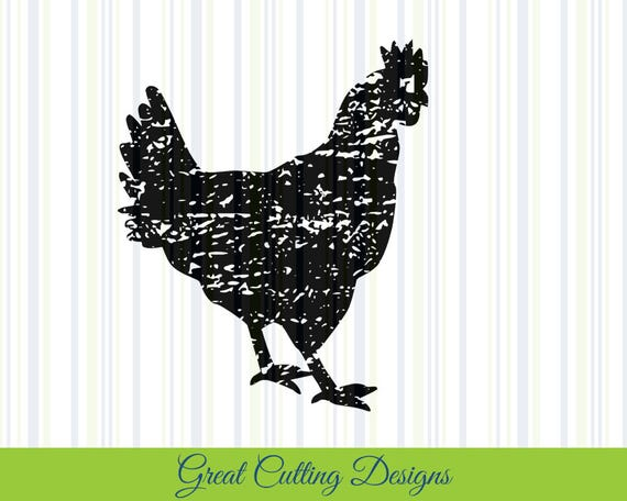 Chicken Svg: Chicken SVG Cut File Distressed Svg DXF Rooster Svg Cut File
