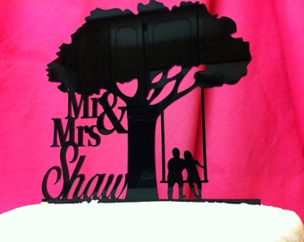 Surname Last Name Tree Silhouette Couple on a Swing Wedding Cake Topper MADE In USA…..Ships from USA