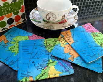 World map rug etsy ready to post reversible world map and laura ashley fabric coasters set of 4 atlas gumiabroncs Gallery