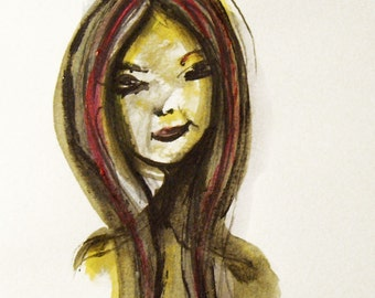 """Girl""""s Face Painting, Original Ink and Watercolor Drawing, Woman""""s Face, Female Portrait, Contemporary painting, Modern art"""