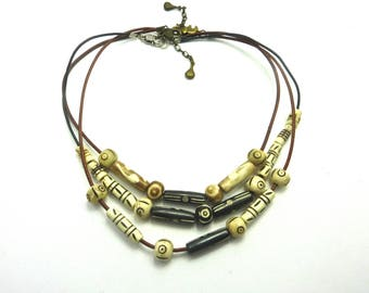 Carved Horn beads Indian necklaces 3