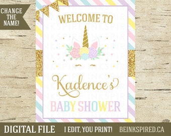 Unicorn Welcome Sign, Unicorn Baby Shower, Unicorn Baby Shower Sign, Printable, Personalized, Unicorn Party, Glitter, KADENCE, DIGITAL FILE