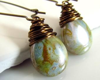 Sage Green Earrings, Green Glass Earrings, Czech Glass, Under 20, Wire Wrapped, Handmade, Earthy Teardrop Earrings, Antiqued Brass
