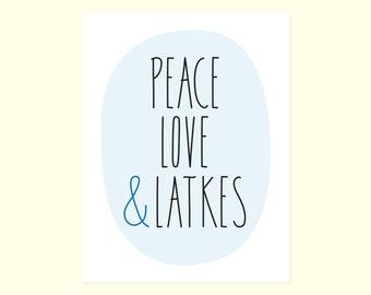 funny hanukkah card peace love latkes - Funny Hanukkah Cards