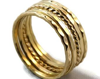 Gold Rings, Stack Rings, Gold Stacking Rings, Stacking Rings, Stackable Rings, Gold Stack Rings, Stack Ring Set, Rose Gold Rings, 14k Gold