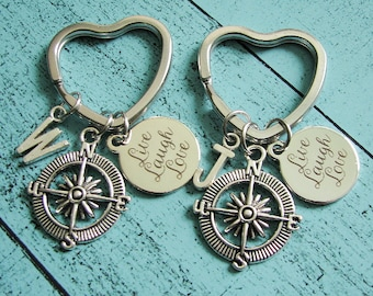best friend gifts gift for sister, compass keychain, friendship gifts, best friend keychain, Live Laugh Love gift, friendship keychain heart