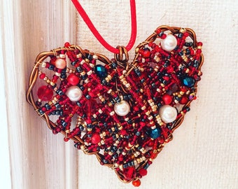 Rear view mirror charm Valentines day gift Boho red and gold beaded heart charm for car Accessories Handmade Car decor Beaded car charm