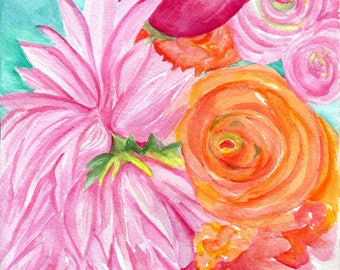 Peonies, Dahlias, Ranunculus, Floral Watercolor Painting Original Flowers painting 8 x 10, Pink, orange, coral