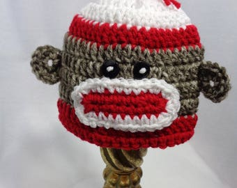 Sock Monkey Baby Hat, Crochet Red and White Sock Monkey Cap, MADE TO ORDER by Charlene, Baby Photo Prop, Simple Baby Hat, Halloween Costume