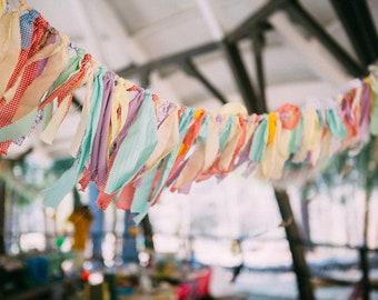 Fabric Garland Backdrop, Colorful Wedding Decor, Boho Chic Baby Shower Gender Neutral Decorations, Farmhouse Decor Rustic Nursery Banner