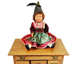French Antique Doll of Brittany/ Rare Antique Handmade Fabric and Bisque Display Folk  Doll / Removable Clothing