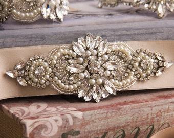 Vintage Sparkling Rhinestone Pearl Bridal Sash / Wedding Sash/ Bridal Belt
