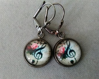 Treble Clef and Roses Earrings