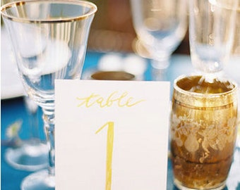 Single Gold Hand Painted Table Number // Wedding and Party // Please use this listing to add any additional table numbers you would like.