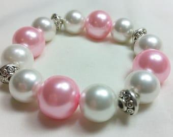 Pink and White Valentine Bracelet,