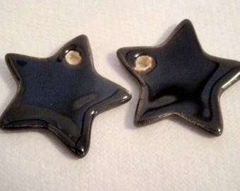 Star in ceramic make-hand : black, 3 cm