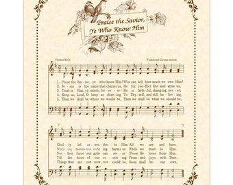 PRAISE THE SAVIOR Ye Who Know Him - Hymn Wall Art- Christian Home & Office Decor- Vintage Verses Sheet Music Wall Art Inspirational Wall Art