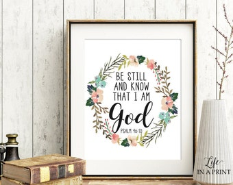 Printable Bible Verse Art, Scripture Typography, Be Still and know that I am God, Psalm 46:10, KJV, Typography poster, Bible verse art, KG1