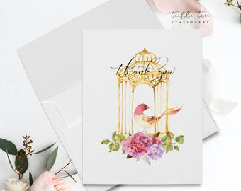 Folded Thank You Note Cards - Romantic Bird Cage-5