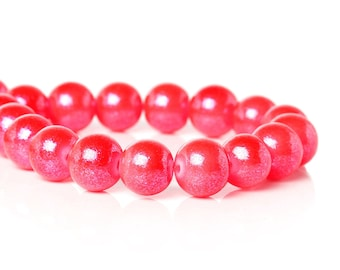 Hot Pink Glass Beads Glitter Bead 10mm Large Spacer Bead Hot Pink with Swirl Glitter Shiny 20/50 3966
