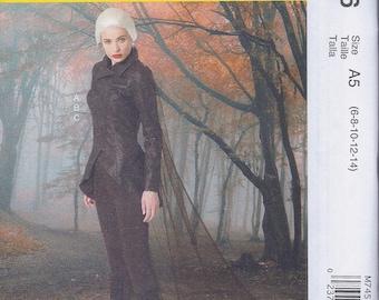 McCalls 7456 Misses Cos Play Costume Jacket Leggings Cape  UNCUT Sewing Pattern