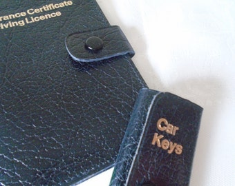 vintage leather driving licence holder and key case