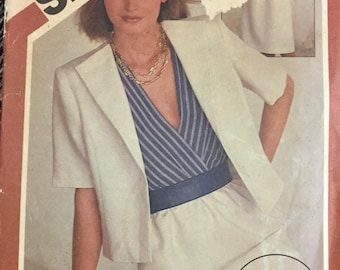80's Simplicity 6274 Fast and Fabulous Dress and Jacket  Bust 32-34-36 inches  Complete Uncut FF