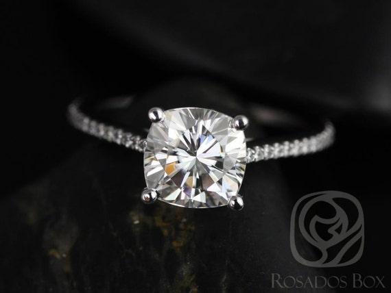 Rosados Box Marcelle 7.5mm 14kt White Gold Cushion F1- Moissanite and Diamonds Cathedral Engagement Ring