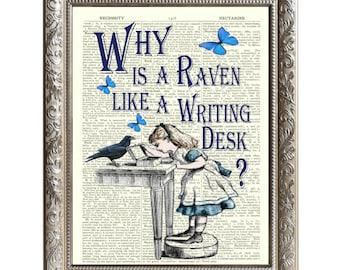 Vintage Art Print Alice in Wonderland Original Book Page Raven Desk -D-AIW-13