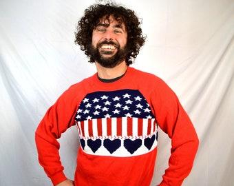 Vintage Red White Blue USA Flag 1980s Patriotic Handmade Sweatshirt
