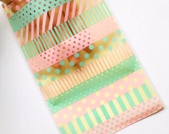 Pastel Green Pattern Bag - Gift Bag Set - Set of 20 bags - Gift Bags - Treat Bags - Easter Bags - Favors Bags - Party bags - Plastic bags