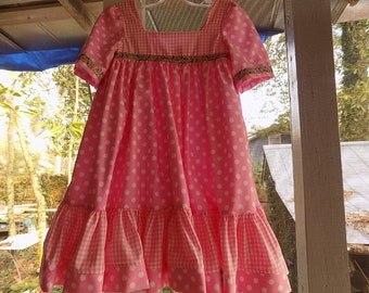 Pink and White Polka Dots and Gingham Swirly Dress size 3T ready to ship