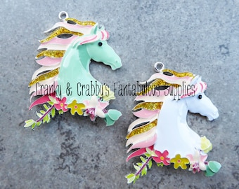 Gypsy Chic Horse  - Enameled -  Chunky Necklaces - 54mm x 48mm  - Boho Mint or White