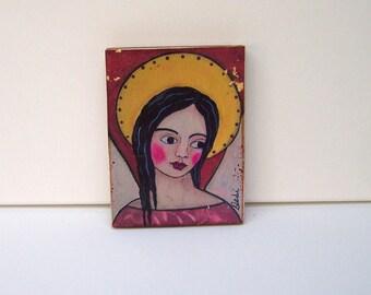 "Folk Art Angel Woodblock Print Encaustic Painting 3.5"" x 5"""