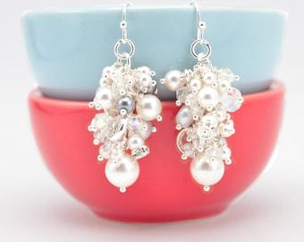 Pearl Cluster Earrings | Gray Cream Pearl Earrings | Gray Wedding Jewelry | Swarovski™ Pearls Crystals Sterling Earrings
