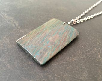 Men's Stone Necklace, Tree Jasper Pendant, Rectangle Stone, Natural Stone, Stainless Steel, Necklace for Men, Masculine Jewelry  1442