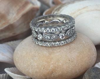 Stacking Rings, Diamond Wedding Band, Eternity Wedding Band, Eternity Band, Wedding Band, Diamond Eternity Band, Stackable Wedding Band